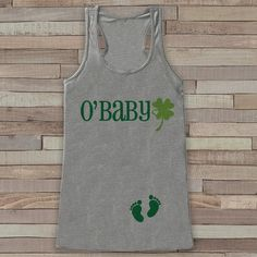 St. Patrick's Tank Top - Women's St Patrick's Day - Grey Tank Top - Funny O'Baby Tank - Pregnancy Reveal - St. Patty's Baby - Announcement