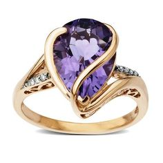 For my sister-->Pear-Shaped Amethyst Ring with Accent Diamonds in 10K Gold  available at #HelzbergDiamonds
