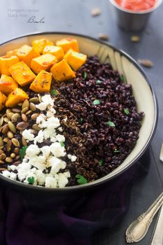 Black Rice Bowls with Roasted Pumpkin, Harissa and Goat Cheese - A unique and healthy dinner, you HAVE to try it! | Foodfaithfitness.com | #glutenfree  #recipe