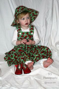 Easter Lucky Ladybug Dress & Hat Set,  Baby and Toddlers and Girls, Ladybugs Dress and Hat Set, Adorable, Vibrant Green and Red.