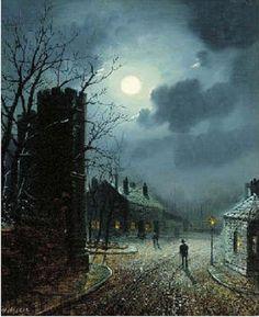 Walter Linsley Meegan (British, 1859–1944) Title: Moonlit street scene