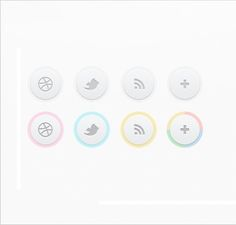 Free psd for a set of clean circular social icons. The super light icon set is dainty and delicate, and would be great in a minimal or girly design. Icon Design, Web Design, Light Icon, Social Media Icons, User Interface, Icon Set, Delicate, Cleaning, Circles
