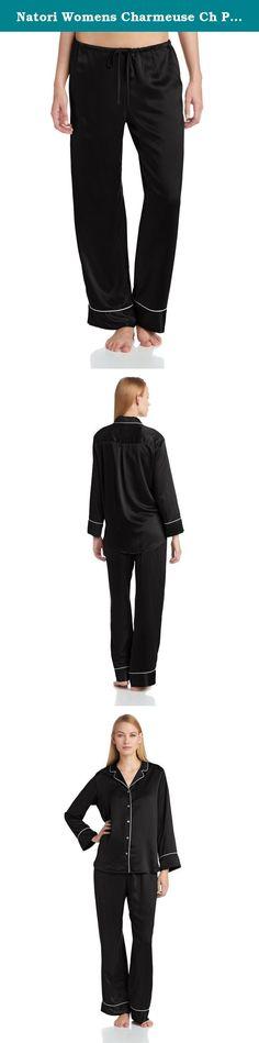 Natori Womens Charmeuse Ch Pajama Set, Black, X-Large. Silky car me use long sleeve button down notch pajama set.