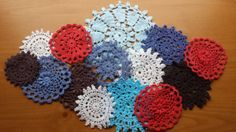 14 Red, Cream, Blue, and Black Hand Dyed Vintage Crochet Doilies
