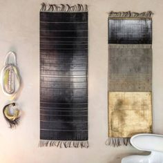 Thrums hang on the wall as decoration with handmade porcelain beads alongside a lacquered Nebula chair. Watts Los Angeles, Weaving Textiles, Los Angeles Homes, Wire Weaving, Interior Design Inspiration, Living Room Designs, Living Rooms, Furniture Design, Wall Lights