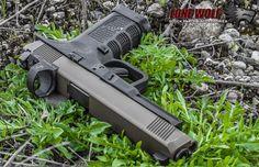 Custom Lone Wolf Glock Burnt bronze cerakote slide and a Leupold Deltapoint slide melt. Custom Glock, Custom Guns, Lethal Weapon, Tactical Equipment, Gun Storage, Guns And Ammo, Firearms, Hand Guns, Weapons