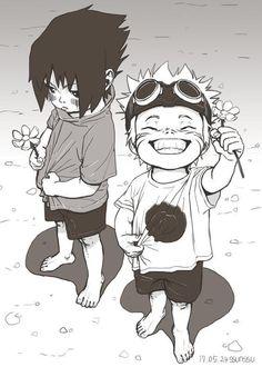 That's one of the cutest things I have seen in a while! Naruto uzumaki and sasuke uchiha as little kids. Naruto Shippuden Sasuke, Naruto Kakashi, Anime Naruto, Art Naruto, Naruto Boys, Naruto Drawings, Naruto Sasuke Sakura, Wallpaper Naruto Shippuden, Naruto Cute