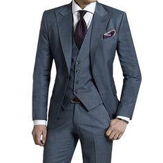 Stone blue three piece suit tailored to your exact measurements.