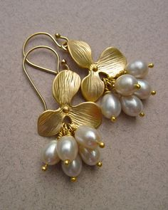 Freshwater Pearl Earrings with Gold Flower, June Birthstone Jewelry, Bridal Earrings on Etsy, $39.00