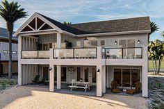 Coastal House Plans, Beach House Plans, Dream House Plans, Two Story House Plans, Two Story Homes, Two Story Deck Ideas, Two Story House Design, House Deck, House Front