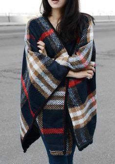 #fall #fashion / plaid cape
