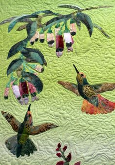 Hummingbird Quilted Art Jewels of the Garden by TimelessDog