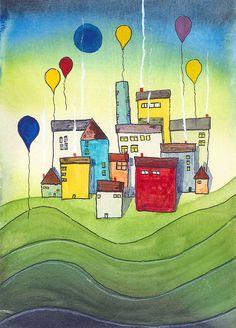 MIchael Basler: City 5, Watercolor