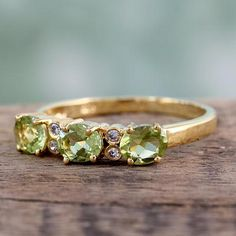 Gold vermeil peridot three-stone ring, 'Ode' - Gold vermeil peridot three-stone ring