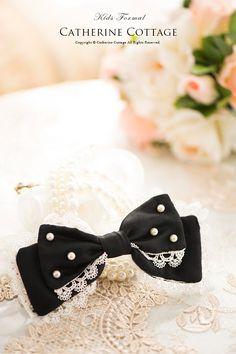 サテンオーガンジーパールリボン 子供ドレス アクセサリー ヘアクリップ 髪飾り フォーマル 結婚式 こども 子ども