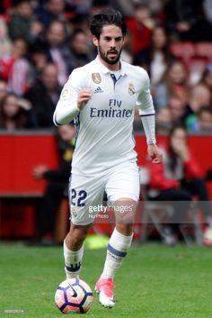 "Francisco Roman ""Isco"" midfielder of Real Madrid (22) drives the ball during the La Liga Santander match between Sporting de Gijon and Real Madrid at Molinon Stadium on April 15, 2017 in Gijon, Spain."