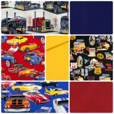 Fabric Friday - Route 66 in Hot Rods, Muscle Cars and Semi Trailer Trucks with Alexander Henry, Northcott, Andover and Robert Kaufman