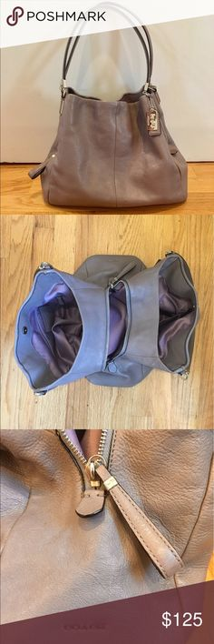 Gray/violet Coach Edie shoulder bag Classic Coach Edie shoulder bag in beautiful gray pebbled leather with silver hardware. One small pen mark on interior, otherwise in excellent condition. I'm happy to answer any questions. No trades. Same or next day shipping! Coach Bags