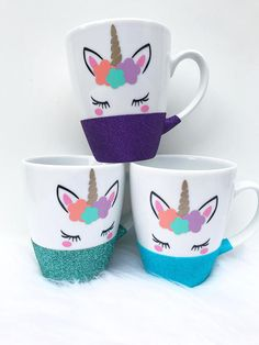 Fabulous glitter mug for any Unicorn lover Please write in the NOTE TO SELLER box at the checkout, the colour you would like the glitter and the name you would like on the mug Holds 350ml - 12oz All mugs are made using premium vinyl Hand wash only