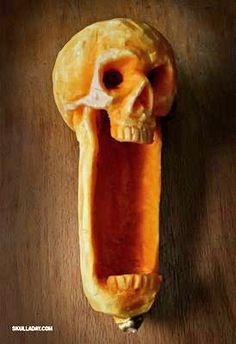 A whole new way of pumpkin carving: Butternut squash carving.  I would love to do this for my sleepy hollow party!