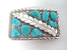 Zuni Sterling Silver 8 Set Turquoise Belt Buckle Signed A. PENKETEWA