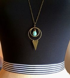 Long Brass Geometric Necklace // Turquoise Gemstone // Triangle Sacred Geometry // Moon Astrology Occult Witchy  // Gold Geometric jewelry by BlackDahliaAtelier on Etsy https://www.etsy.com/listing/236176635/long-brass-geometric-necklace-turquoise