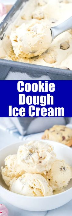 Cookie Dough Ice Cream - Ice cream that is flavored like Cookie Dough plus has chunks of cookie dough swirled throughout! Easy No Bake Desserts, Best Dessert Recipes, Frozen Desserts, Desert Recipes, Easy Desserts, Delicious Desserts, Frozen Treats, Keto Desserts, Cupcakes
