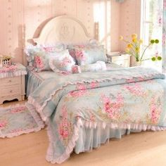 DIAIDI,Princess Floral Bedding Set,Flower Print Bed Set,Lace Ruffle Duvet Cover Set,Rustic Rural Bedding,Twin Queen King,4Pcs