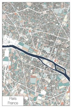 A pastel colored map of Paris France. This map consists of the various property parcels and roads that make up the wonderful city of Paris Paris Map, Paris France, Custom Map, Paper Frames, City Maps, Map Art, Modern Art, Abstract Art
