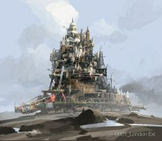 Enjoy the Art of Mortal Engines in a Concept Art Collection by Ian McQue. Ian is a concept artist/illustrator. Mortal Engines Book, Predator Cities, Sci Fi City, Steampunk, Prop Design, The Infernal Devices, Visual Development, Ship Art, Fantasy Landscape