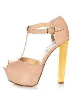 Steve Madden Dyvine Fawn Patent T-Strap Platform Heels by Lulusdotcom