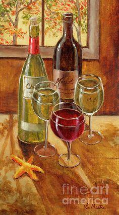 Wine and Starfish Painting  - Wine and Starfish Fine Art Print