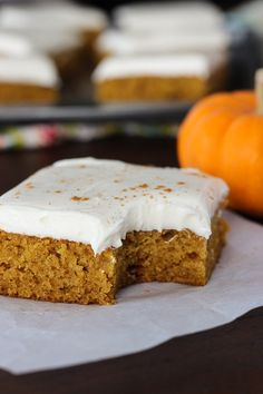 Pumpkin bars they are moist they are delicious they hit the spot light and fluffy pumpkin bars topped with a rich creamy decadent cream cheese frosting for an exquisite heavenly result aloadofball Image collections