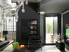 black interior living room decorating