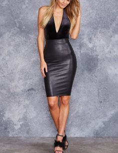 A must-have for every glam-goth princess, this vegan leather midi skirt hugs all the right things. It features a dramatically long lace-up back and oversized eyelets for extra slay power.**This is a limited product – once it's gone, it's gon Bandage Skirt, High Waisted Pencil Skirt, Bodycon Dress, Pencil Skirts, Fall Skirts, College Fashion, Curvy Fashion, Fall Fashion, Fashion Trends