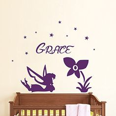 Wall Decals Name Personalized Custom Decal Fairy Star Flower Vinyl Sticker Art Home Decor Mural Baby Decor Nursery OP19 *** Find out more about the great product at the image link.