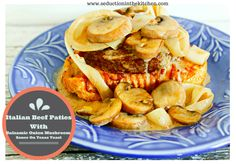 Italian Beef Patties with Balsamic Onion Mushroom Sauce on Texas Toast from Seduction in the Kitchen