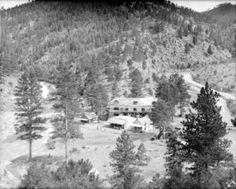Gates' home at Bear Creek :: Western History  	View of Bear Creek Canyon in Jefferson County, Colorado; shows construction of the Charles C. Gates mansion.