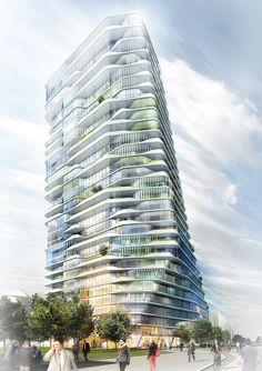 grüntuch ernst architekten's layered scheme wins porsche residential tower competition