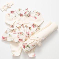 Saída de Maternidade Aninha Floral Menina 3 Peças Baby E, My Baby Girl, Toddler Fashion, Kids Fashion, Stylish Baby, Everything Baby, Reborn Baby Dolls, Baby Wearing, Cute Babies
