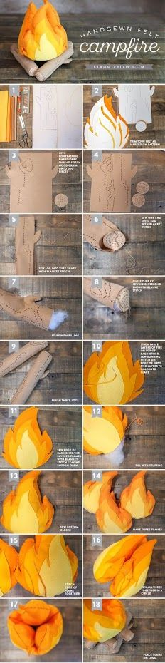 How to Make a Felt Campfire for Kids: DIY Tutorial - Lia Griffith - - Your kids will have so much fun with our felt campfire (complete with felt s' mores)! Learn how to craft it with our DIY template and photo tutorial. Felt Diy, Felt Crafts, Crafts For Kids, Clay Crafts, Fabric Crafts, Sewing Projects, Diy Projects, Diy Bebe, Ideias Diy
