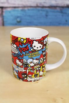 Sanrio and Friends 2013 Hello Kitty Comic Strip Happy Birthday Mug Coffee Cup #HelloKitty
