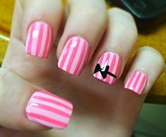My new nails! Victorias Secret themed with acent bow! French Nail Designs, Black Nail Designs, Gel Nail Designs, Cute Nail Designs, White Nails, Pink Nails, Victoria Secret Nails, Hair And Nails, My Nails