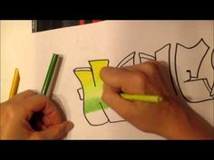 Color pencil blending Graffiti Name with analogous, monochromatic, and complimentary color work - YouTube