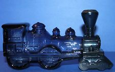 "Vintage Avon Blue Glass Locomotive Train Bottle ""Wild Country Rose"" Great Shape"