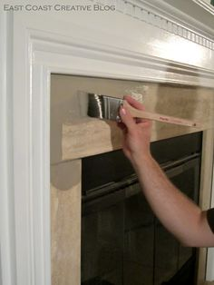 ASCP on marble tile fireplace - East Coast Creative: Simple Fireplace Upgrade {Annie Sloan Chalk Paint}