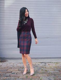 Tartan Plaid Pencil Skirt Fall Streestyle Inspo by Extra Petite Office Fashion, Work Fashion, Skirt Fashion, Fashion Outfits, Fashion Tips, Fashion Brands, Fashion Ideas, Fashion Capsule, Fashion Bloggers