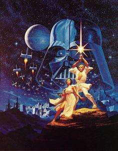The iconic original Star Wars poster artwork by famed fantasy illustrators Greg and Tim Hildebrandt.