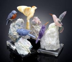 Four Gemstone Carvings of Birds