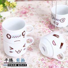 A Set Of 4PCS Novelty Lovely Cartoon Smiling Face Four Cup Ceramic Milk Afternoon Tea Folding Mug Travel Mug Office Coffe Cup купить на AliExpress